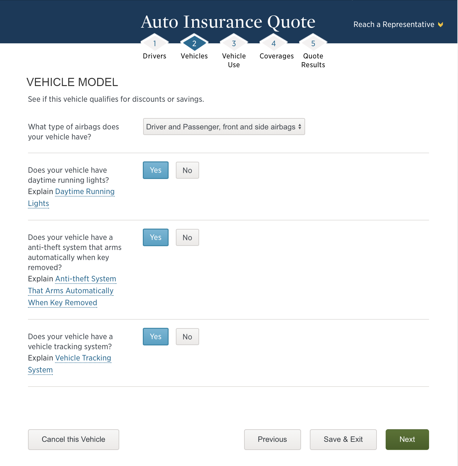 USAA Auto Insurance Quote Car Questionnaire