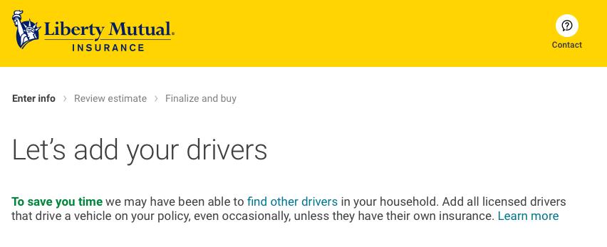 add drivers liberty mutual quote