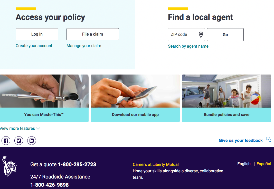 liberty mutual homepage middle of the page