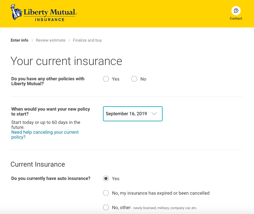your current insurance liberty mutual quote