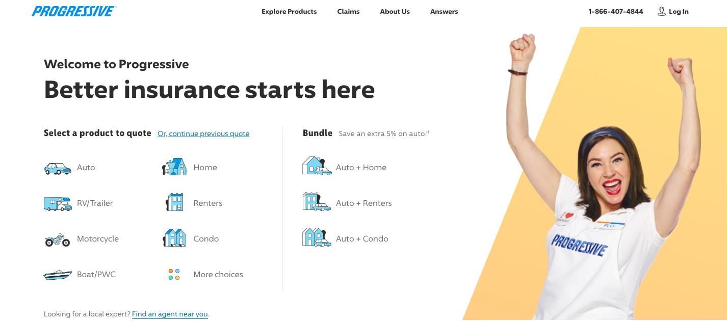 progressive home page