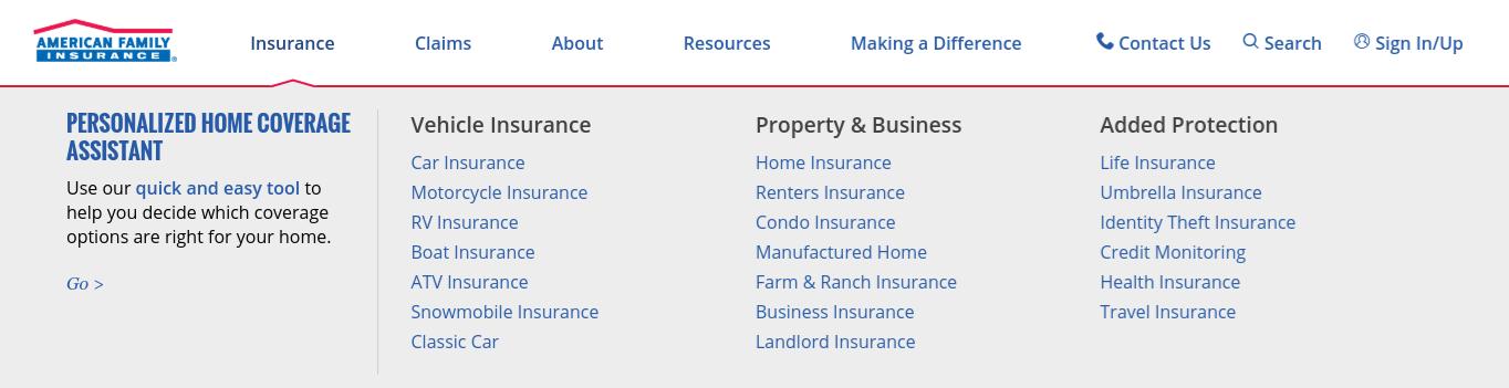 American Family Auto Insurance site navigation