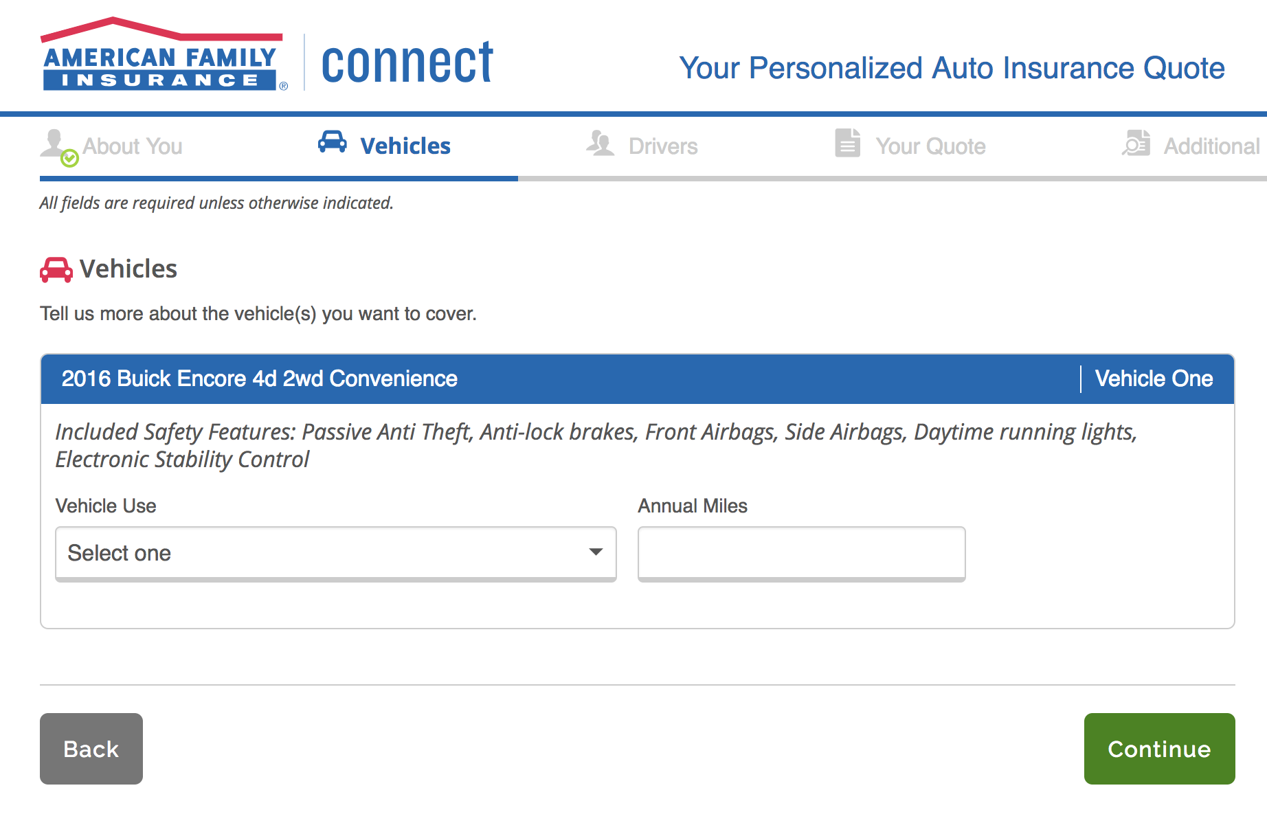 American Family Auto Insurance additional vehicle information