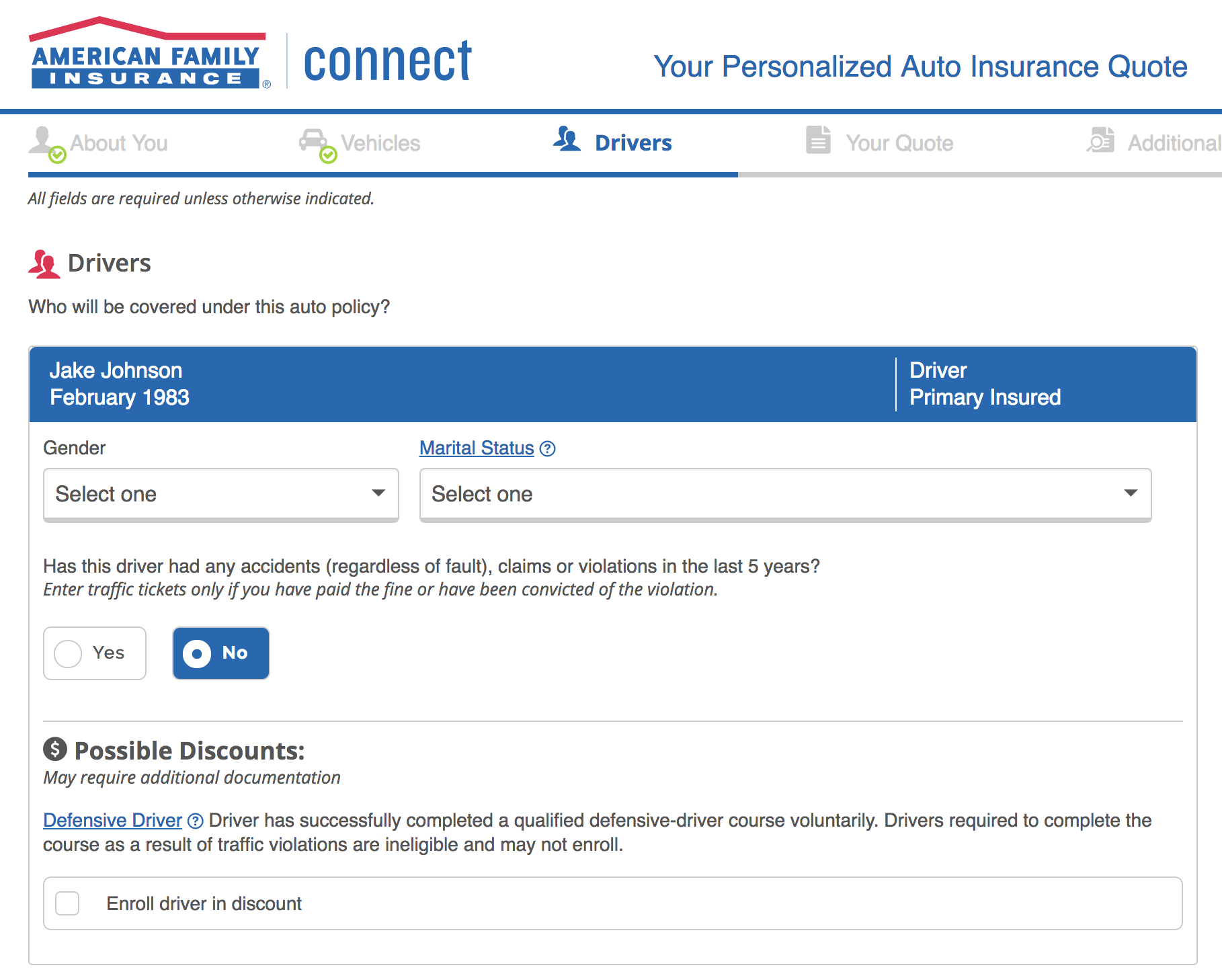 American Family Auto Insurance driver information