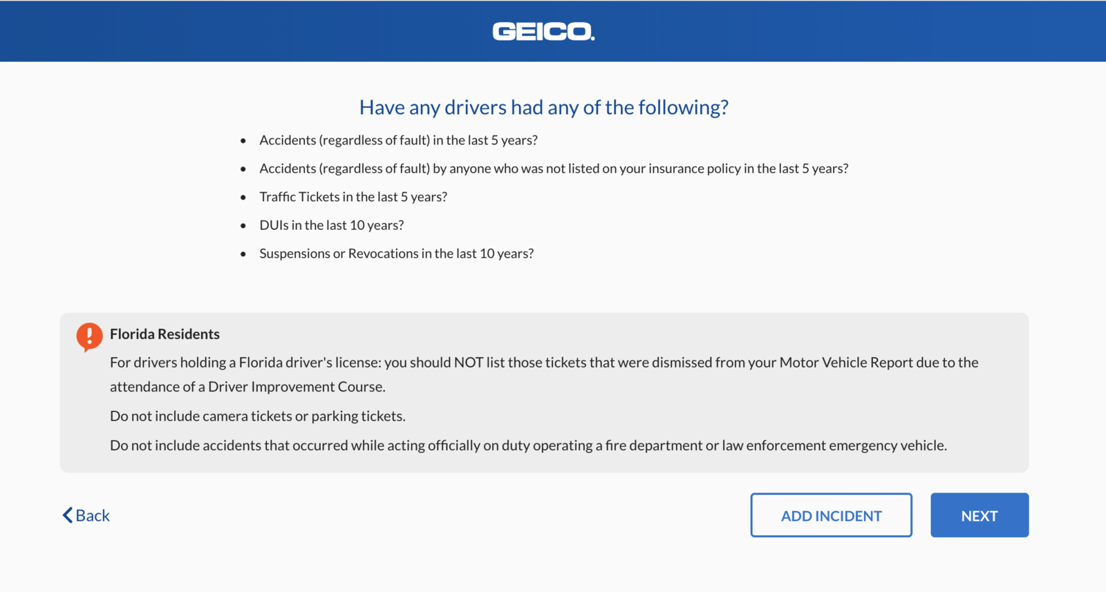 Geico quote driving history