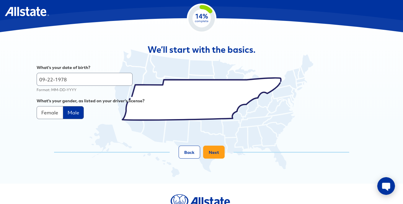 Allstate online quote form birthday state