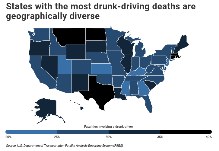 Most drunk-driving deaths by U.S. state