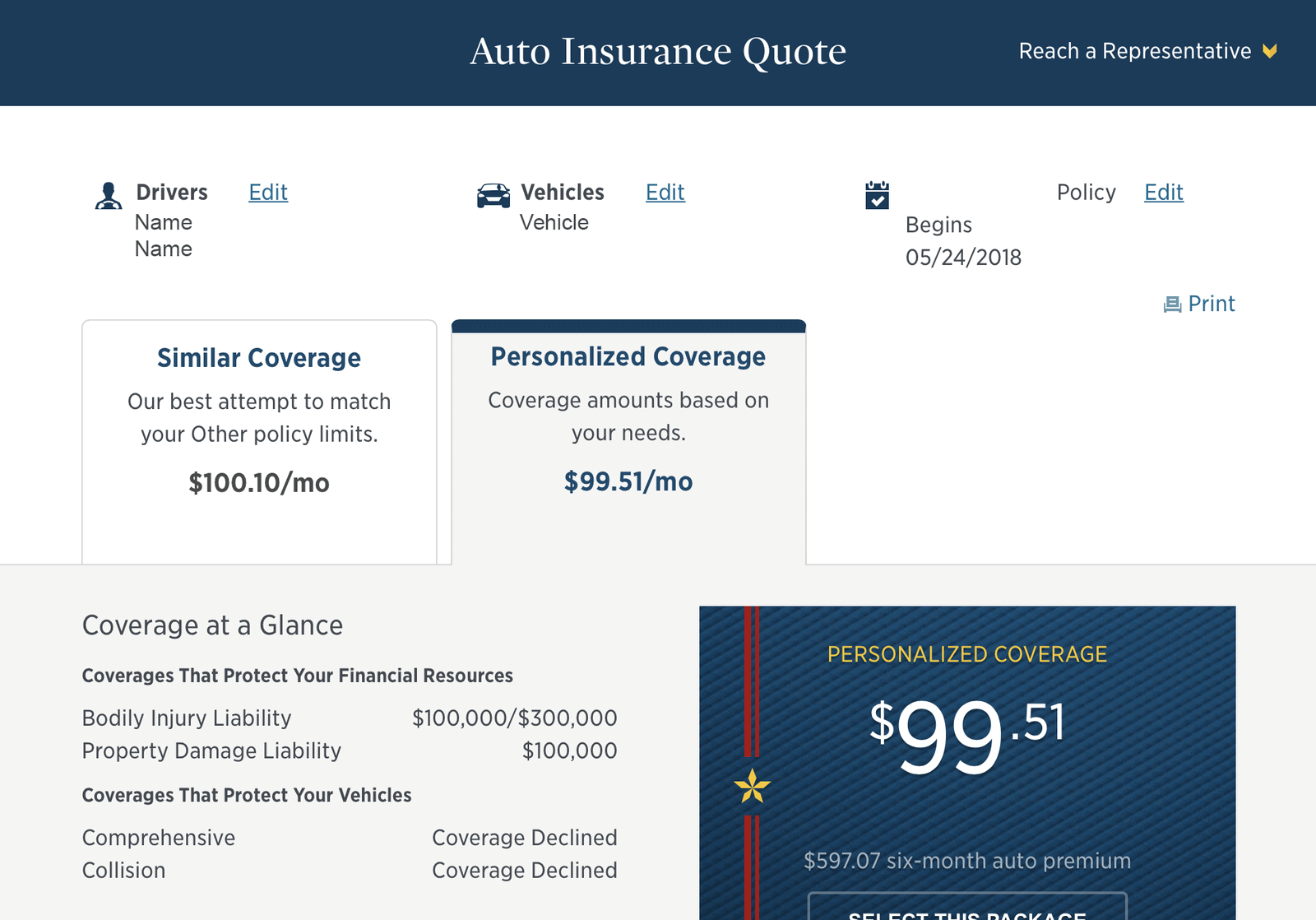 USAA Auto Insurance Review Sample Quote and Coverage