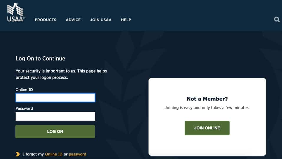 USSA auto insurance review members login page